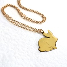 Personalised gold bunny necklace