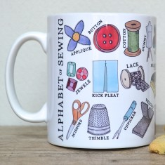 Sewing alphabet mug