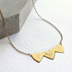 Personalised gold three little hearts necklace