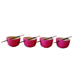 Rice bowl with chopsticks in pink set of 4