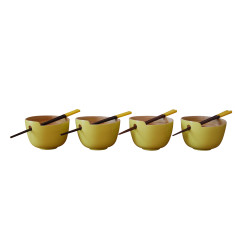 Rice bowls with chopstick in yellow set of 4