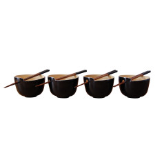 Rice bowls with chopsticks in black set of 4
