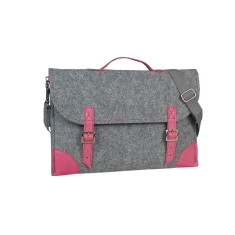 Grey felt laptop case with pink leather