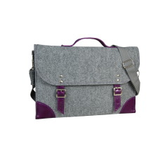 Grey felt laptop case with purple leather