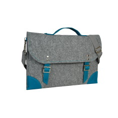 Grey felt laptop case with blue leather