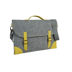 Grey felt laptop case with yellow leather