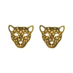 Leopard studs in gold