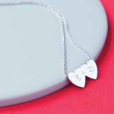 Personalised double heart necklace for girlfriend