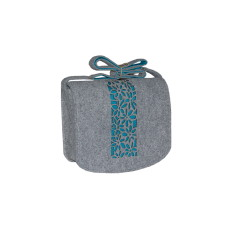 Grey felt cross body bag with turquoise flowers lining