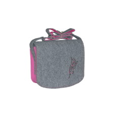 Grey felt cross body bag with pink fuchsia lining
