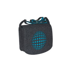 Dark grey felt cross body bag with turquoise lining