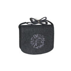 Dark grey felt cross body bag grey flower lining