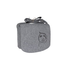 Grey felt shoulder bag with magic face