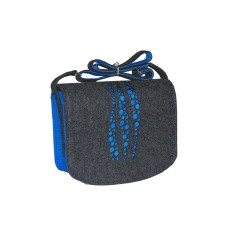 Dark grey felt cross body bag with blue drops lining