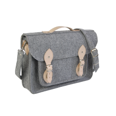 Felt laptop bag with genuine leather