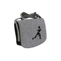 Grey felt cross body bag with black lining