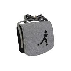 Grey felt cross body bag with black lining