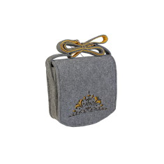 Grey felt cross body bag with freesia yellow lining