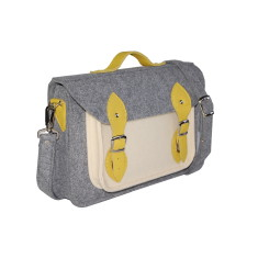 Grey and beige felt laptop bag with yellow leather