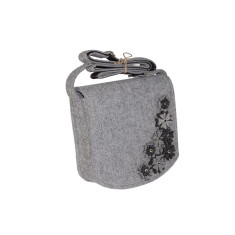Grey felt shoulder bag with felt flowers for women