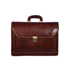 Leyton leather laptop briefcase in brown