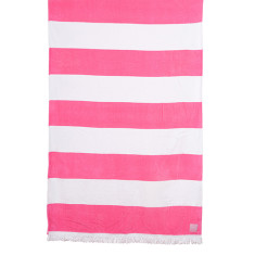 Hot pink stripe beach towel