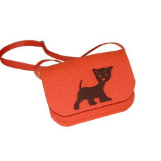 Little orange felt crossbody bag with kitty decoration