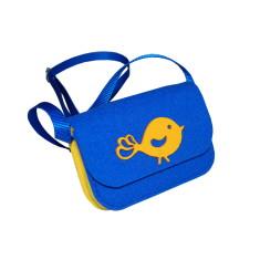 Little blue yellow felt crossbody bag with yellow bird decoration