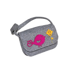 Little grey felt handmade purse with birdy decoration