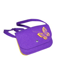 Little violet felt crossbody bag with butterfly decoration