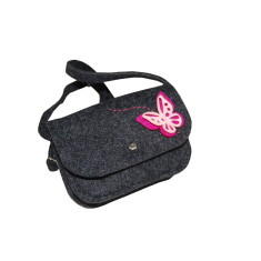 Little dark grey felt crossbody bag with pink butterfly decoration