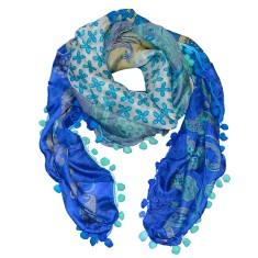Lola silk scarf with pom pom trim