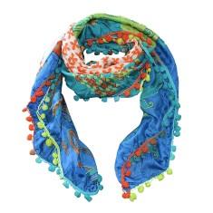 Lucie silk scarf with pom pom trim