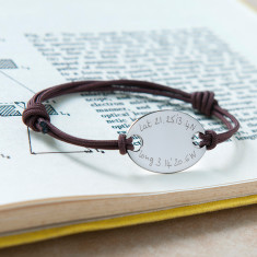 Personalised GPS coordinate oval plate bracelet