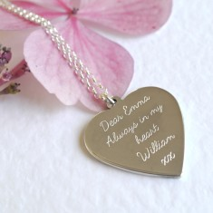 Personalised sterling silver large floral heart necklace