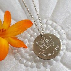 Personalised sterling silver medium disc necklace