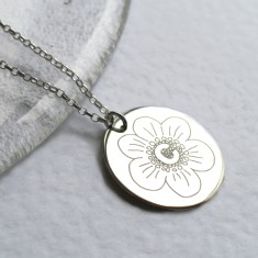 Personalised sterling silver large initial disc necklace