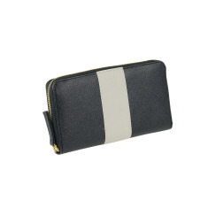 Ava wallet in black with cream ribbon
