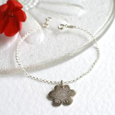 Personalised sterling silver small flower bracelet