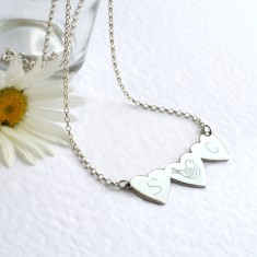 Personalised sterling silver three little hearts necklace
