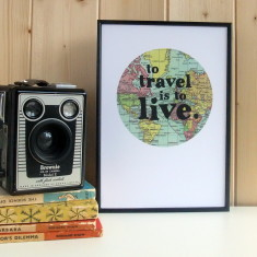 To travel is to live typographic framed map print