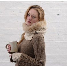 Alpaca cable knit fur trim snood