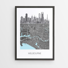 Melbourne illustrated map print