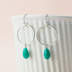 Green amazon hoops earrings