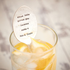 Personalised vintage silver-plated spoon drink stirrer