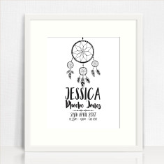 Dreamcatcher Personalised Birth Print