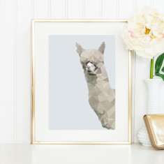 Geometric alpaca art print
