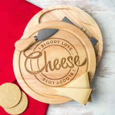 I bloody love cheese engraved cheese board set