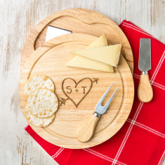 Personalised carved heart cheese board set