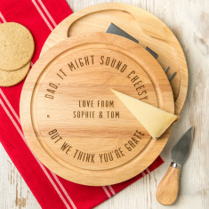 Personalised Engraved Dad's Cheese Board Set